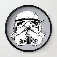 trooper Wall Clocks featuring Trooper  by Owen Lloyd