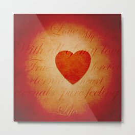 Romantic Heart and Words Metal Print