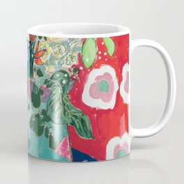 Wild Flowers in Flamingo Vase Floral Painting Coffee Mug