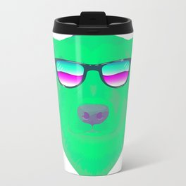 Cool green dog Metal Travel Mug