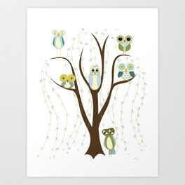 Blue Owls in a Weeping Willow Art Print