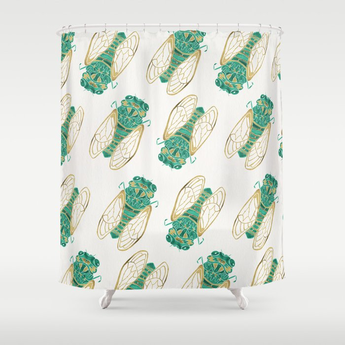 Cicada Green Gold Shower Curtain By Catcoq