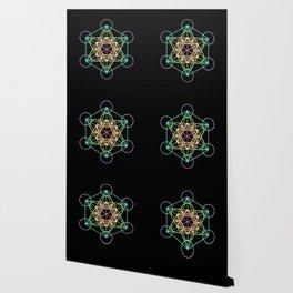 Metatron's Cube- Rainbow on Black Wallpaper