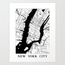 New York City Minimal Map Art Print