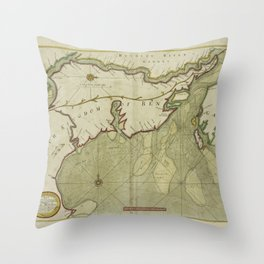 A new and correct chart shewing the goeing over the Braces with the sands shoals depth of water and anchorage from Point Palmiras to Hughley in the BA Throw Pillow