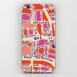paris map pink iPhone Skin