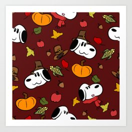 Harvest Puppy Pattern Art Print