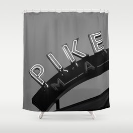 Seattle Pike Place Market Black and White Shower Curtain