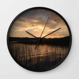 Sunset over Thompson Lake Wall Clock