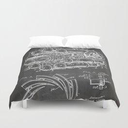 Airplane Jet Engine Patent - Airline Engine Art - Black Chalkboard Duvet Cover