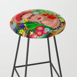 Frida Kahlo Floral Exotic Portrait Bar Stool