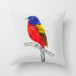 Painted Bunting Sentinel Throw Pillow