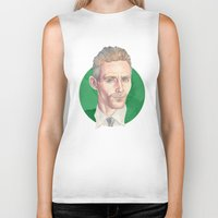 tom hiddleston Biker Tanks featuring Hiddleston by Megan Diño