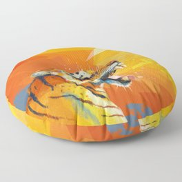 Tiger in the morning Floor Pillow