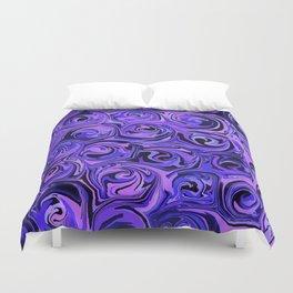 Blue Violet & Black Paint Rose Swirls Duvet Cover