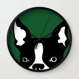 boston terrier green Wall Clock