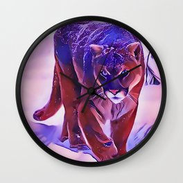 Mountain Lion Hunting in The Snow Wall Clock