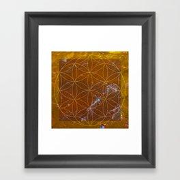 Orange Calcite // Flower of Life Framed Art Print