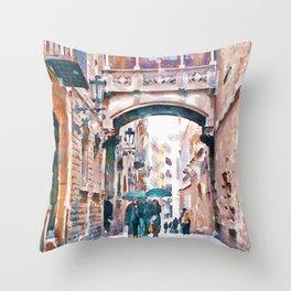 Carrer del Bisbe - Barcelona Throw Pillow