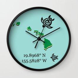 Hawaii Map Coordinates Wall Clock