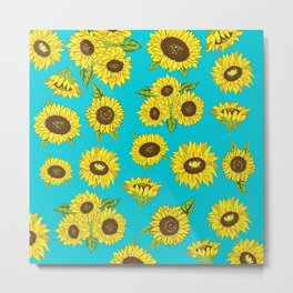 Sunflower Grunge Pattern Metal Print