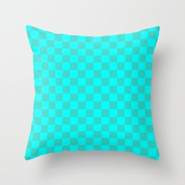 Cyan and Turquoise Checkerboard Throw Pillow