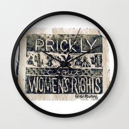 Prickly About Women's Rights, block print, cactus art, cacti Wall Clock