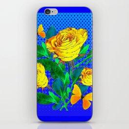 YELLOW BUTTERFLIES, ROSES, & BLUE OPTICAL ART iPhone Skin