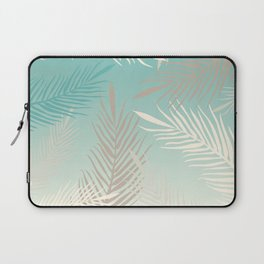 Palm leaves in soft bluish pastel colors Laptop Sleeve