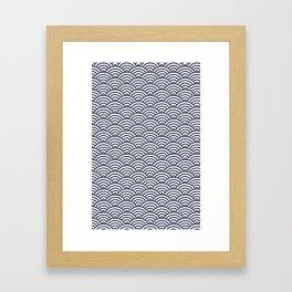 Japanese Koinobori fish scale Delft Blue Framed Art Print