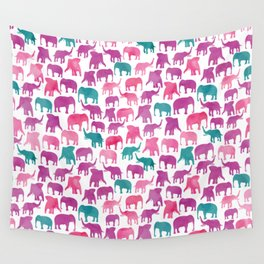 Watercolor Elephant Stampede Pretty Pattern Wall Tapestry