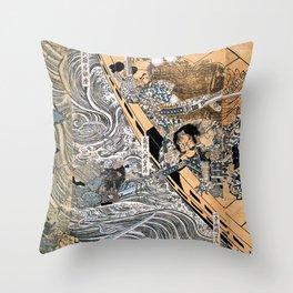 Kuniyoshi Utagawa, The ghost of Taira Tomomori, Daimotsu bay Throw Pillow