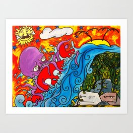 CRB vs The Greedy Octopus Art Print