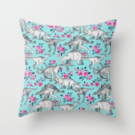 Dinosaurs and Roses - turquoise blue Throw Pillow