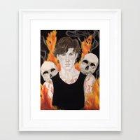 stephen king Framed Art Prints featuring Stephen by Alice Rachel