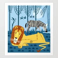 Whilst The Lion Sleeps Art Print
