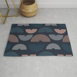 Boho Mid Century Lines Pattern Abstract Rug