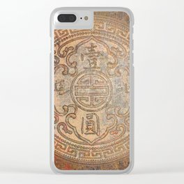 Antic Chinese Coin on Distressed Metallic Background Clear iPhone Case