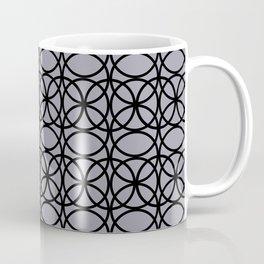 Pantone Lilac Gray and Black Rings Circle Heaven 2, Overlapping Ring Design Coffee Mug