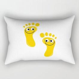 Yellow Happy Feet Rectangular Pillow