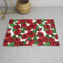 Red roses pattern Rug