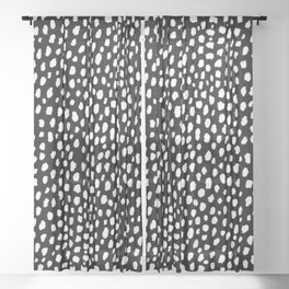 Handmade polka dot brush strokes (black and white reverse dalmatian) Sheer Curtain