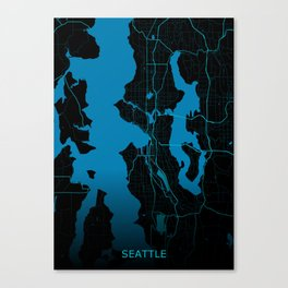 Seattle USA Road Map Canvas Print