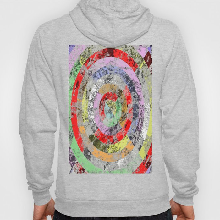 Marble Bullseye - Abstract, Multi Coloured, Marble Patterned Art Hoody