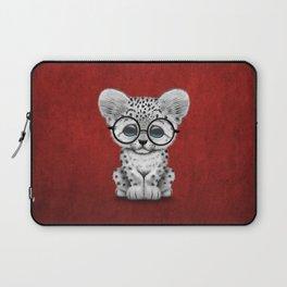Cute Snow Leopard Cub Wearing Glasses on Deep Red Laptop Sleeve