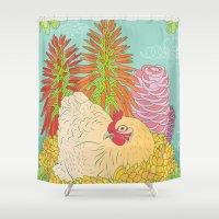 chicken Shower Curtains featuring Chicken by Raewyn Haughton