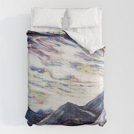 Undulate (Rocky Mountain/ Sea Crashing scene in Deep Purples) Comforters