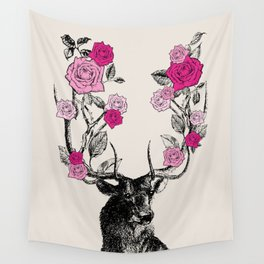 The Stag and Roses | Pink Wall Tapestry