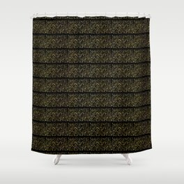 Luxe Gold Black Foil Typography Pattern Seamless Background Shower Curtain