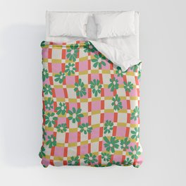Distorted Geometric Floral Duvet Cover